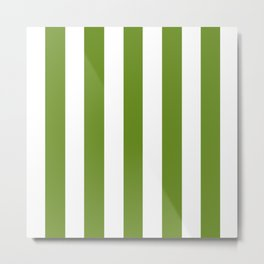 Olive Drab (#3) - solid color - white vertical lines pattern Metal Print