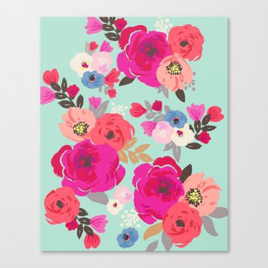 Sweet Pea Floral Aqua Canvas Print