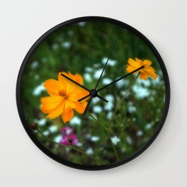 Yellow Wildflower Wall Clock
