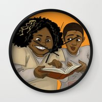 oitnb Wall Clocks featuring Taystee and Poussey OITNB by StephDere