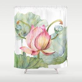 Lotus Metaphor for Feminine Beggining Shower Curtain