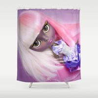 nicki Shower Curtains featuring ERREGIRO CUSTOM BLYTHE DOLL NICKI by Erregiro