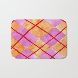 Hand Painted Classic Argyle Pattern Pink Orange Red Bath Mat