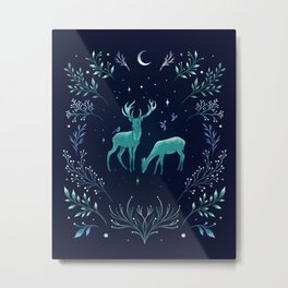 Deers in the Moonlight - Frosted Mint Metal Print