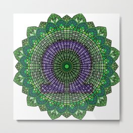 Green Mandala with A Purple Omega Symbol Metal Print
