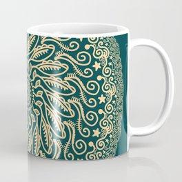 Mandala Project 255 | Gold on Forest Green Coffee Mug