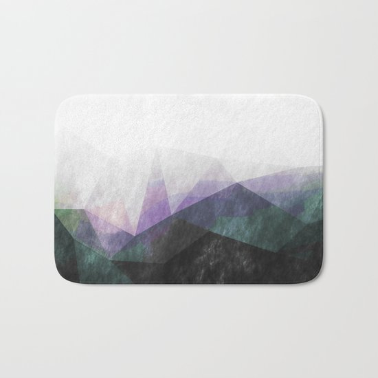 On the mountains- green watercolor - triangle pattern Bath Mat