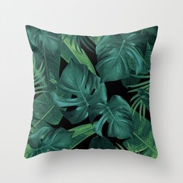 Tropical Summer Night Jungle Leaves Dream #1 #tropical #decor #art #society6 Throw Pillow