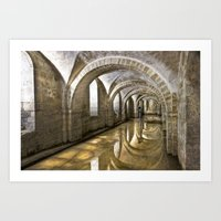 mandie manzano Art Prints featuring Winchester Cathedral Crypt by Alice Gosling