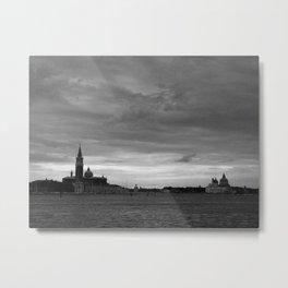 Venice laguna at sundown in black and white Metal Print