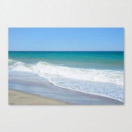 Sandy beach and Mediterranean sea Canvas Print