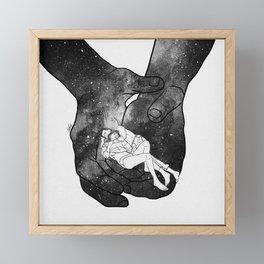Warm lovers hug. Framed Mini Art Print