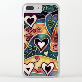 Funky Hearts Clear iPhone Case