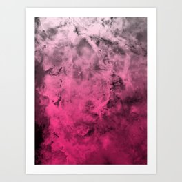 Liquid Space Nebula : Gray to Pink Ombre Gradient Art Print
