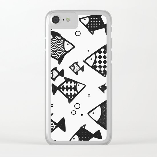 Hipster fish seamless drawing art Clear iPhone Case