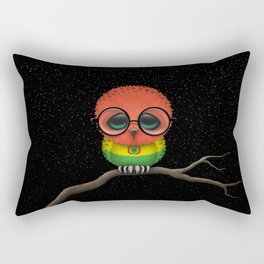 Baby Owl with Glasses and Bolivian Flag Rectangular Pillow