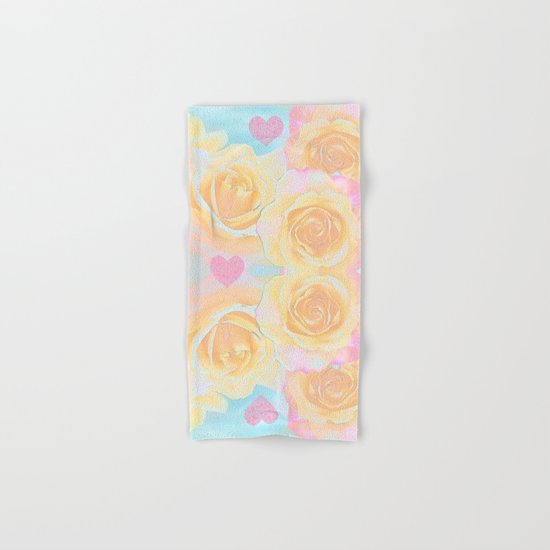 Painterly roses in pink, orange, yellow and blue Hand & Bath Towel