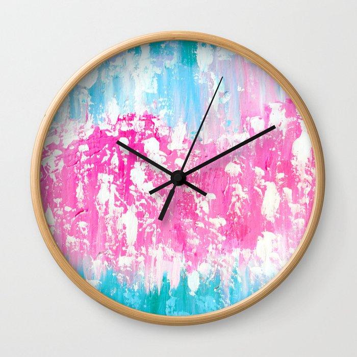 Pink and Aqua Wall Clock