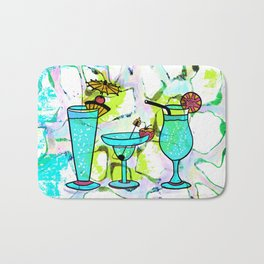 Summer Pool Party Cocktails , Watercolor Painting in Aqua Tequila Sunrise Colors Bath Mat