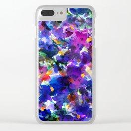 Royal Blue Garden Clear iPhone Case