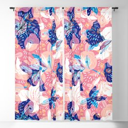Blue, white and pink flowers collage Blackout Curtain