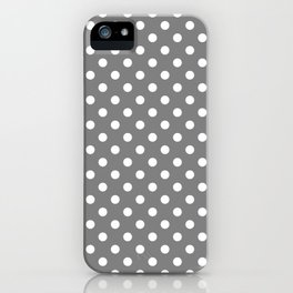 Small Polka Dots - White on Gray iPhone Case
