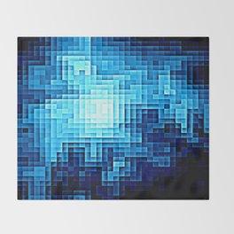 Nebula Pixels Blue Throw Blanket