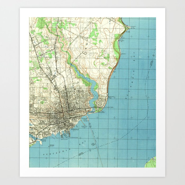 Map Of Pensacola Florida.Vintage Map Of Pensacola Florida 1944 Art Print By Bravuramedia