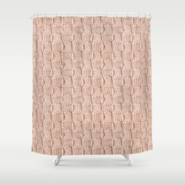 Ecru Knit Textured Pattern Shower Curtain