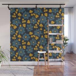 Floral pattern. Hepatica flowers Wall Mural