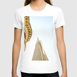 pyramid building and modern building and vintage style building at San Francisco, USA T-shirt