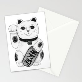 Maneki-neko Japanese Lucky Cat - Black & White Stationery Cards