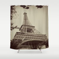 eiffel tower Shower Curtains featuring Eiffel Tower by AngelicaRoesler