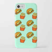 fries iPhone & iPod Cases featuring Burgers & Fries by CozyReverie