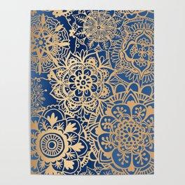 Blue and Gold Mandala Pattern Poster