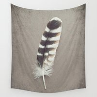 hawk Wall Tapestries featuring Hawk Feather by Lupen Grainne