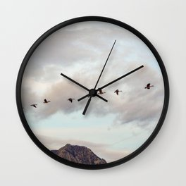 Migration of the Birds // Mountain and Sky Meets Nature Landscape Photography of Wildlife Wall Clock