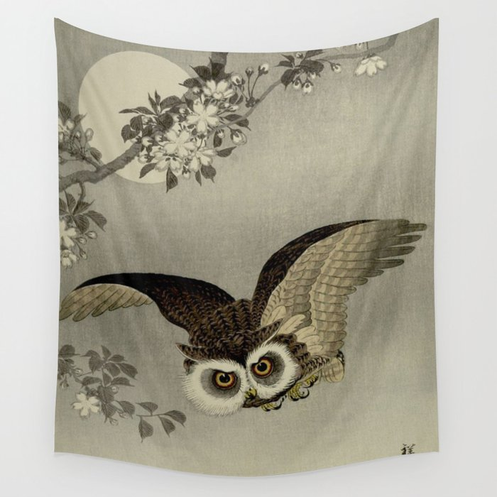 Japanese Owl and Moon Wall Tapestry
