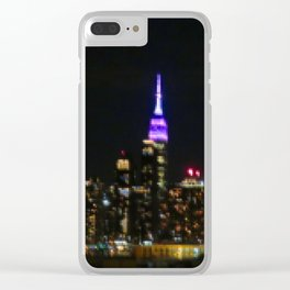 Manhattan by night NYC pixels Clear iPhone Case