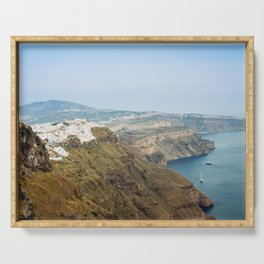 The beautiful white village of Fira, Santorini, Greece. Serving Tray