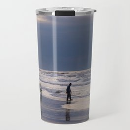 Family at the beach enjoying the sunset and the sea horizon Travel Mug