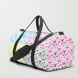 Imperfect Hearts Checkerboard Pattern - CMYK/WHITE Duffle Bag