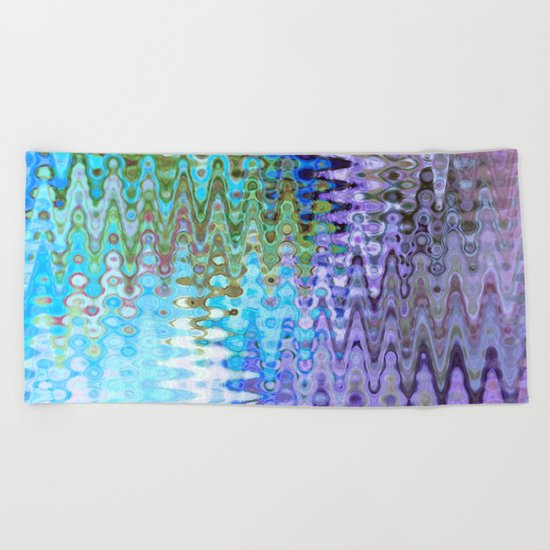 Charming Distractions, Abstract Art Waves Beach Towel