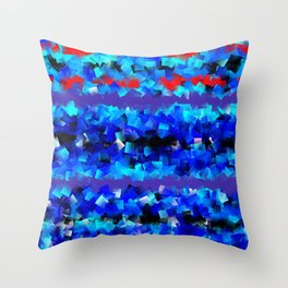 Blue lights and red birds Throw Pillow