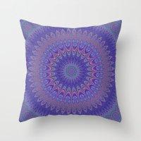 mandala Throw Pillows featuring Purple mandala by David Zydd