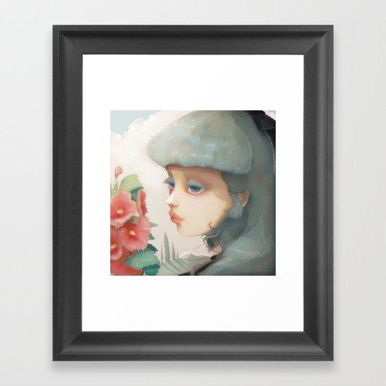 Pensees et roses tremieres Framed Art Print