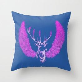 Winged Pink Deer Throw Pillow