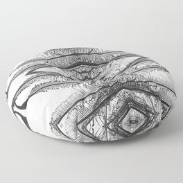 Ferns Abstract 1 - Black and White Floor Pillow