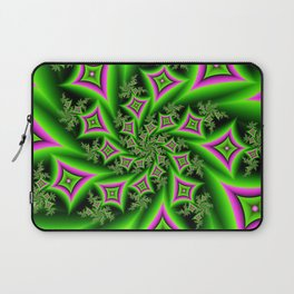 Green And Pink Shapes Fractal Laptop Sleeve