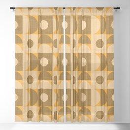 Textured Mid-century Circles No.12 Black White Orange Sheer Curtain
